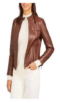 Stand Collar Long Sleeves Brown Leather Jacket